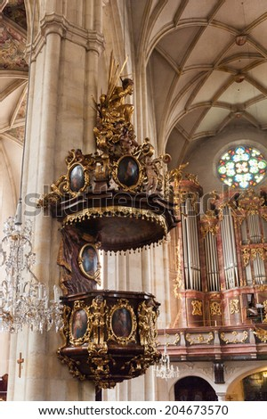 GRAZ, AUSTRIA - JUN 27, 2014: Interior of the Graz Cathedral, the cathedral church dedicated to Saint Giles, Graz, Austria. Graz is the capital of federal state of Styria