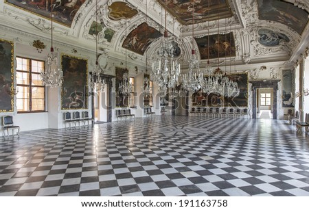 GRAZ, AUSTRIA - MAY 2: Interior of Eggenberg Palace as on May 2, 2014 in Graz. The  Palace built 1625-1635,  is the most significant Baroque palace complex in Styria.