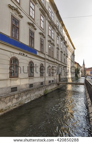 Graz downtown water canal on Elisabeth alley, Austria.