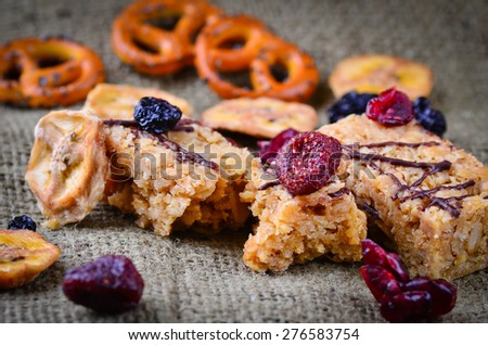 Grazing snack food on a rustic background - stock photo
