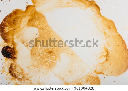 Greased ceramic tray surface with remains of olive oil after roasting food. - stock photo
