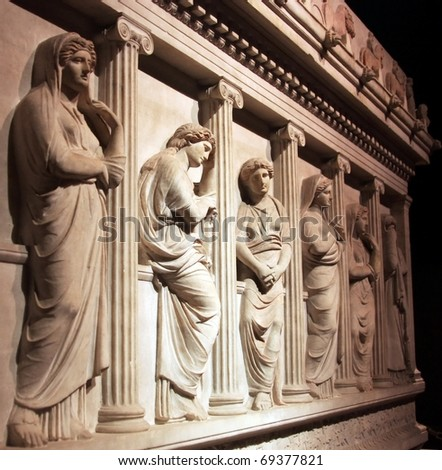 Great Alexander's Sarcophagus Detail, Istanbul - stock photo