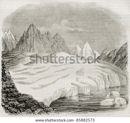 Great Altetsch Glacier old view, Canton of Valais, Switzerland. By unidentified author, published on Magasin Pittoresque, Paris, 1842 - stock photo