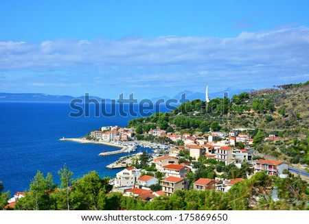 great azure scenic view on podgora in croatia