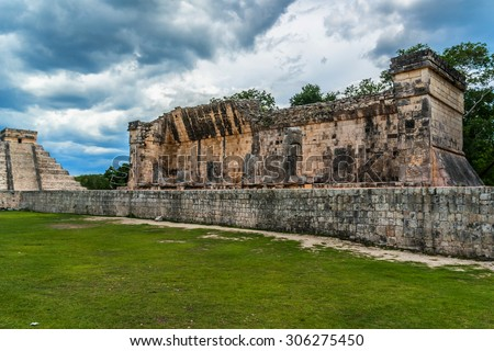 Great Ball Court. Chichen Itza archaeological site, Yucatan peninsula, Mexico.