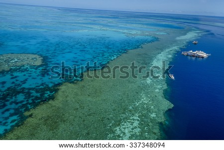 great barrier reef aerial view Queensland - stock photo