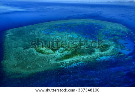 great barrier reef Queensland aerial view - stock photo