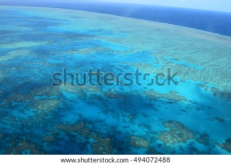 Great Barrier Reef seen aerial shot