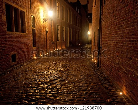 Great Beguinage at night Leuven, Louvain, Belgium, UNESCO