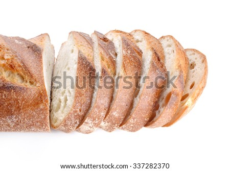 Great bread cut pieces placed on white background. - stock photo