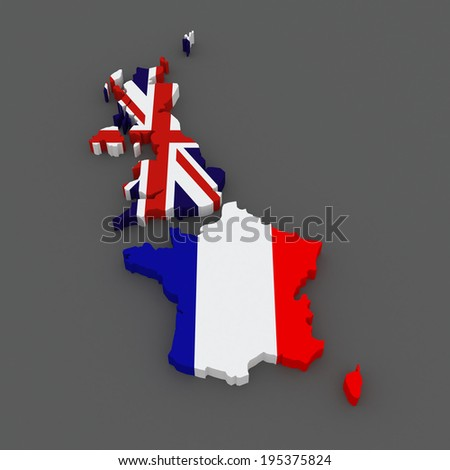 Great Britain and France. map. 3d