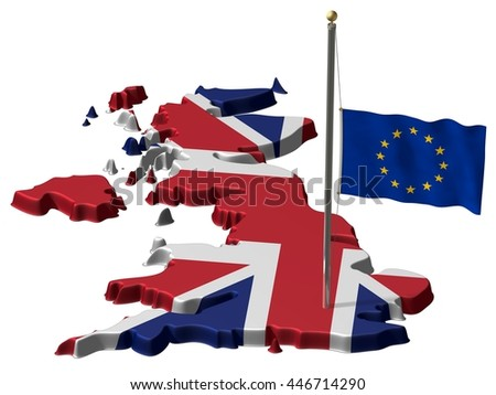 Great Britain and the Flag of the EU at half mast after Brexit - 3D Illustration - stock photo