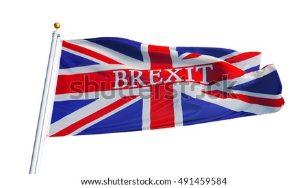 Great Britain Brexit flag waving on white background, close up, isolated with clipping path mask alpha channel transparency