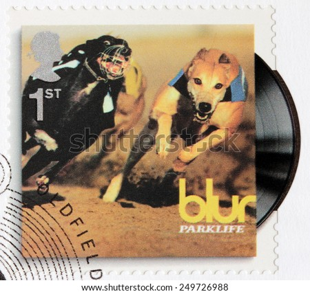 GREAT BRITAIN - CIRCA 2010: A stamp printed by GREAT BRITAIN shows Blur album Parklife (1994) cover, circa 2010. - stock photo