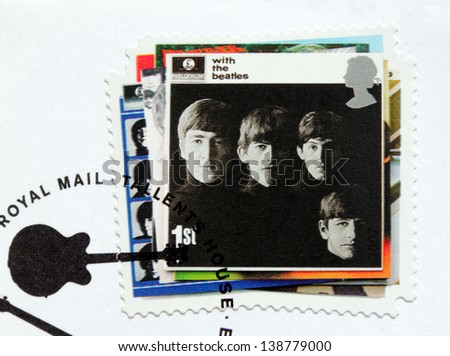 "GREAT BRITAIN - CIRCA 2007: a stamp printed by Great Britain shows the Beatles album ""With the Beatles"" cover, circa 2007. - stock photo"