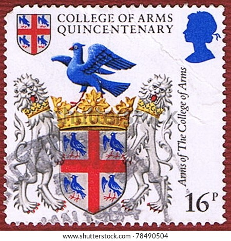 GREAT BRITAIN - CIRCA 1984: A stamp printed in Great Britain shows the coat of arms of the College of Arms, series, circa 1984