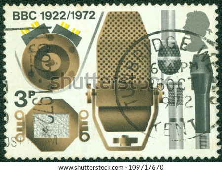 GREAT BRITAIN - CIRCA 1972: A stamp printed in Great Britain shows the different microphones, a series devoted to the 50th anniversary BBC, circa 1972 - stock photo