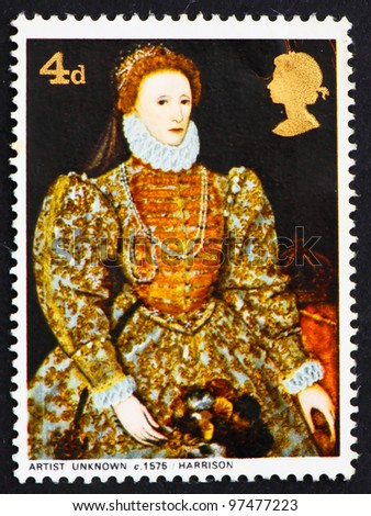 GREAT BRITAIN - CIRCA 1968: a stamp printed in the Great Britain shows Elizabeth I, 1575, artist unknown, circa 1968 - stock photo