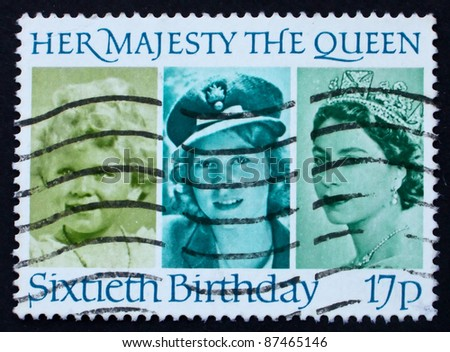 GREAT BRITAIN - CIRCA 1986: a stamp printed in the Great Britain shows Her Majesty the Queen Elizabeth II, sixtieth birthday, circa 1986 - stock photo