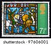GREAT BRITAIN - CIRCA 1971: A stamp printed in the Great Britain shows Journey of the Kings, from Stained Glass Windows, Canterbury Cathedral, circa 1971 - stock photo