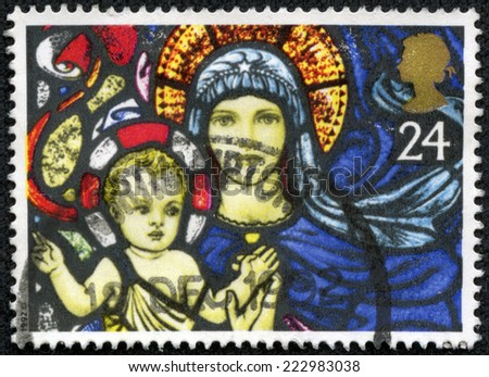 GREAT BRITAIN - CIRCA 1992: a stamp printed in the Great Britain shows Madonna and Child, Stained Glass Window, Christmas, circa 1992