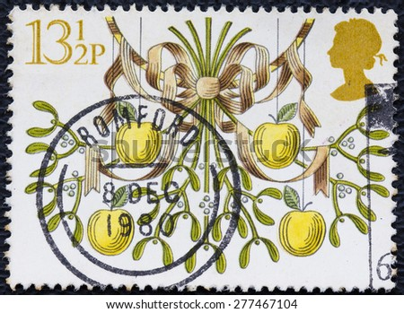 GREAT BRITAIN - CIRCA 1980: a stamp printed in the Great Britain shows Mistletoe and Apples, Christmas, circa 1980 - stock photo