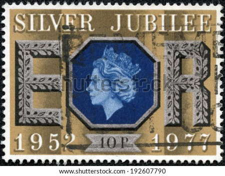 GREAT BRITAIN CIRCA 1977: a stamp printed in the Great Britain shows Queen Elizabeth II, 25th anniversary of the reign of Elizabeth II, circa 1977 - stock photo