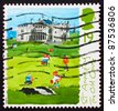 GREAT BRITAIN - CIRCA 1994: a stamp printed in the Great Britain shows St. Andrews, old course, 250th anniversary of Honorable Company of Edinburgh Golfers, circa 1994 - stock photo