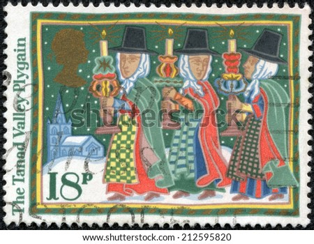 GREAT BRITAIN - CIRCA 1986: A stamp printed in the Great Britain shows Tanad Valley Plygain, Christmas, circa 1986 - stock photo