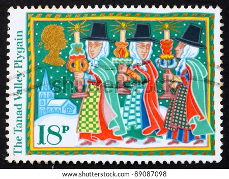GREAT BRITAIN - CIRCA 1986: A stamp printed in the Great Britain shows Tanad Valley Plygain, Christmas, circa 1986