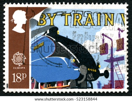 GREAT BRITAIN - CIRCA 1988: A used postage stamp from the UK, celebrating the Train as a mode of transportation, circa 1988.