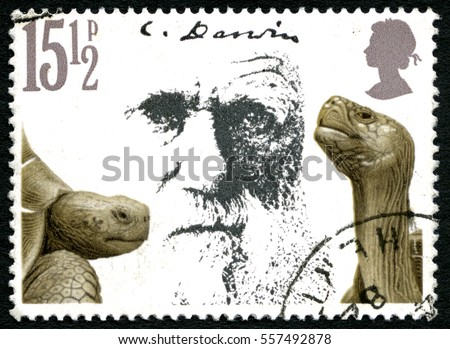 GREAT BRITAIN - CIRCA 1982: A used postage stamp from the UK, depicting a portrait of Charles Darwin and Giant Tortoises, circa 1982.