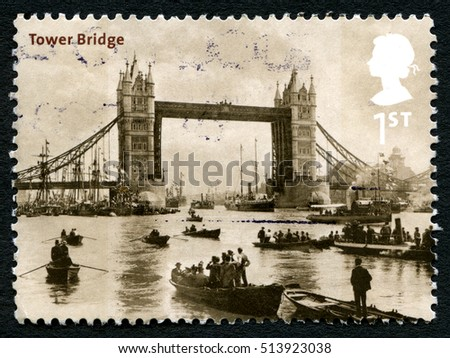 GREAT BRITAIN - CIRCA 2002: A used postage stamp from the UK, depicting an early image of Tower Bridge in London, circa 2002.