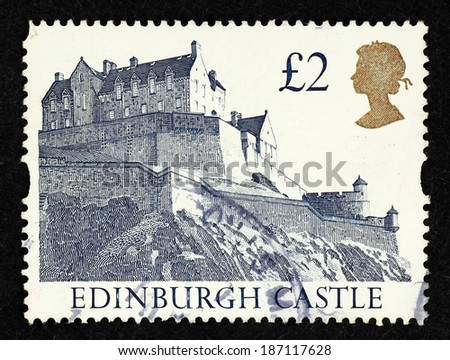 GREAT BRITAIN - CIRCA 1992: Postage stamp printed in Great Britain with image of Edinburgh Castle. - stock photo