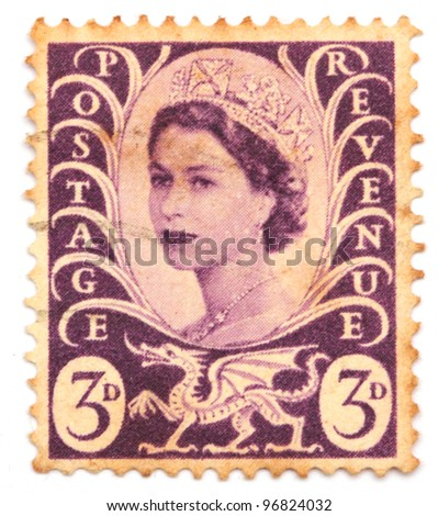 GREAT BRITAIN - CIRCA 1967: stamp printed by Great Britain, shows queen Elizabeth II, circa 1967 - stock photo