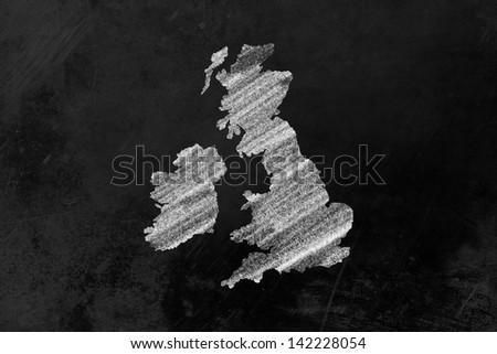 Great Britain drawn on a blackboard - stock photo