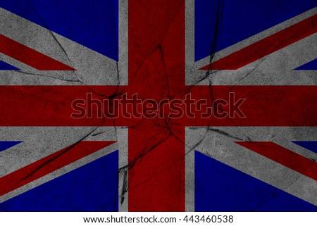 Great Britain Flag on cracked grunge background. - stock photo