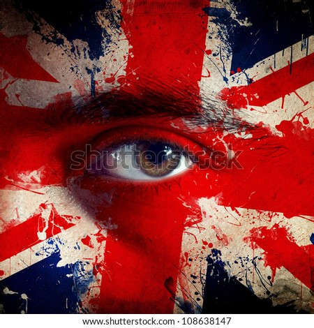 Great Britain flag painted on face