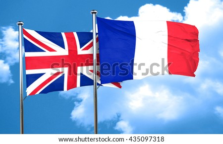 Great britain flag with France flag, 3D rendering  - stock photo