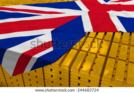 Great Britain gold reserve stock: golden bars are covered with british flag in the storage (treasury) as symbol of national gold and foreign currency reserves, financial health, economic growth - stock photo