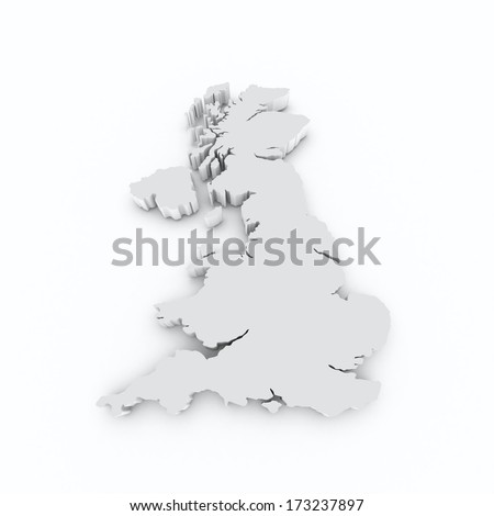 Great Britain grey on white isolated
