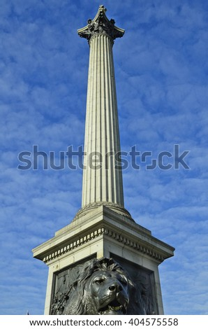 Great Britain, London, Nelson column with bronze lion - stock photo