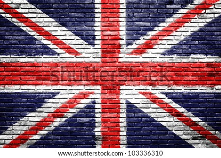 Great britain on old brick wall texture background - stock photo