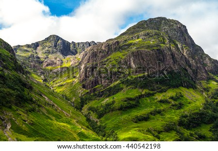 Great Britain, Scotland, Highlands, the famous Glen Coe mountains.