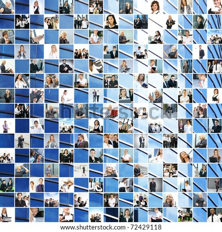 Great business collage made of 225 different pictures and abstract elements. Perfect for illustrating and the best as background. - stock photo