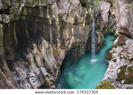 Great canyon of Soca river also known as emerald river in Slovenia.
