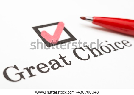 Great Choice check boxes - stock photo