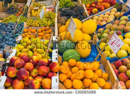 Great choice of fruits seen at a market in Palermo, Sicily