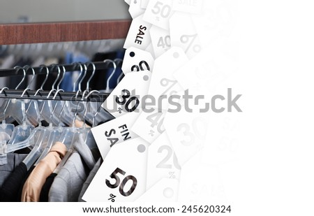 Great clothing sale of previous season - stock photo