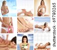 Great collage about health, beauty, sport, meditation and spa - stock photo